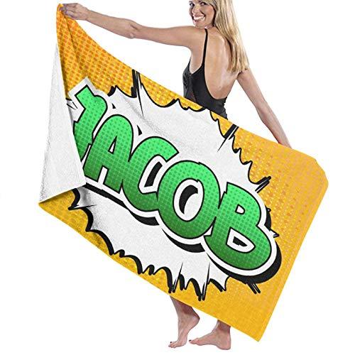 SUDISSKM Toalla de Playa de Playa de Microfibra Grande,Nombre Masculino Personal en Tonos Verdes sobre el Efecto de explosión de explosión cómica,Toalla de Baño Suave de Secado Rápido 130x80CM