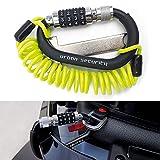 urban UR140 Candado Moto Kit Mosquetón con Código Seguridad Combinación Antirrobo Bloqueo + Cable de Acero Flexible + Adaptador Casco, Negro