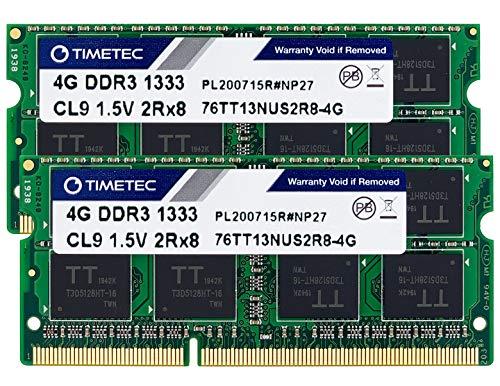 Timetec Hynix IC 8GB Kit (2x4GB) DDR3 1333MHz PC3-10600 Non ECC Unbuffered 1.5V CL9 2Rx8 Dual Rank 204 Pin Sodimm Laptop Notebook Memoria de la computadora Ram Module Upgrade (Dual Rank 8GB Kit (2x4GB))