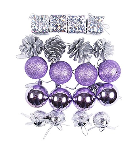 CHRISTYLE Glitter Ball Baubles Christmas Xmas Tree Topper Ornament Party Hanging Decorations (20, Purple)