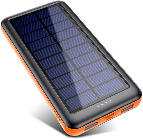 Pxwaxpy Cargador Solar 26800mAh, Power Bank Solar 【Entradas Tipo C & Mirco USB】 Batería Externa Solar de Carga Rápida Cargador Movil Portatil con 2 Puertos USB para Smartphones, Tablet etc (Naranja)