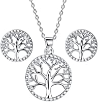 Lydreewam Tree of Life Necklace Earrings Jewellery Sets for Women 925 Sterling Silver with Gift Box, Necklace Adjustable...