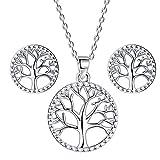 Lydreewam árbol de la Vida Juegos de Joyas Collar Pendientes Conjuntos para Mujer Plata de Ley 925 Regalo Dia de la...