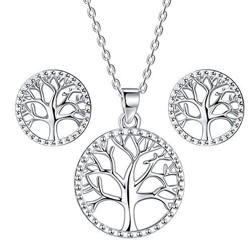 Lydreewam árbol de la Vida Juegos de Joyas Collar Pendientes Conjuntos para Mujer Plata de Ley 925 con Caja de Regalo, Collar Ajustable 40+5cm