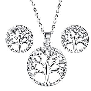 Lydreewam árbol de la Vida Juegos de Joyas Collar Pendientes Conjuntos para Mujer Plata de Ley 925 con Caja de Regalo…   DeHippies.com