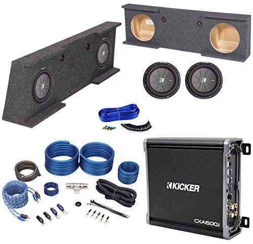 "Sub Box+(2) Kicker 10"" Subwoofers+Amp+for 07-13 GMC/Chevy Sierra/Silverado Crew"