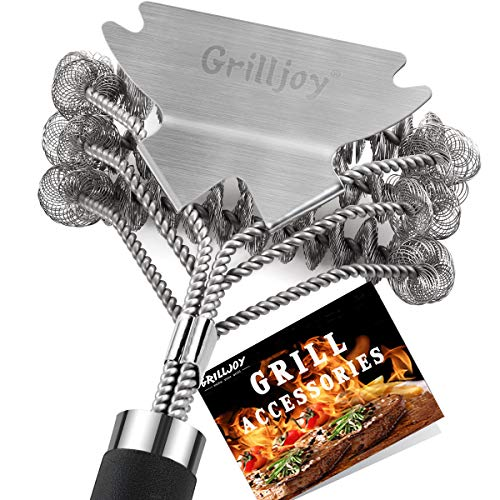 GRILLJOY 18inch Grill Cleaning Brush Bristle Free - Ideal BBQ Grill Accessories Gift For Christmas - Safe BBQ Cleaning Grill Brush With Extra Wide Scraper - BBQ Brush For Gas/ Charcoal/Porcelain Grill