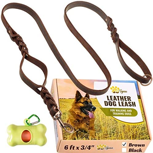 Leather Dog Leash 6 ft x 3 4 Double Handle Dog Leash Traffic Handle for Extra Control Soft and product image