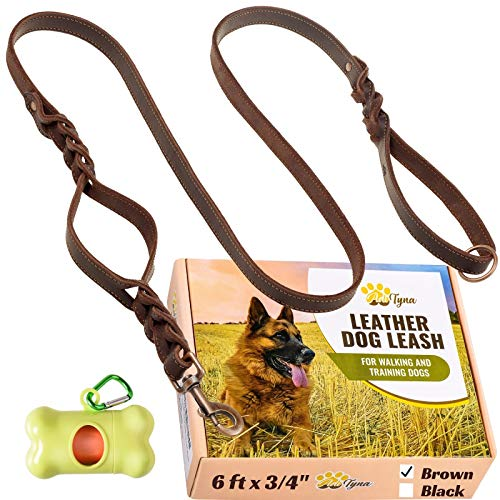 """Leather Dog Leash 6 ft x 3/4"""" - Double Handle Dog Leash - Traffic Handle for Extra Control - Soft and Strong Braided Leather Lead for Large and Medium Dogs (Double Handle 6 foot x 3/4"""", Brown)"""