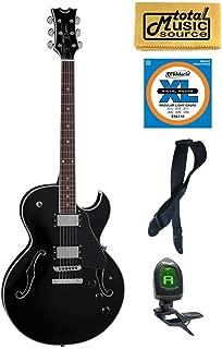 Dean Guitars Colt Semi-Hollow Body Electric Guitar, Classic Black , COLT CBK, Bundle