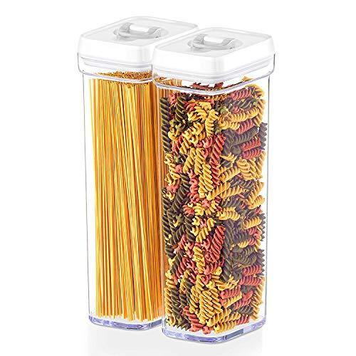 Contenedores herméticos de almacenamiento de alimentos con tapas, tamaño similar, 2 piezas, para ollas y pasta de espaguetis, mantiene frescos y secos