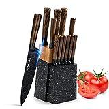 HOBO - Set di coltelli da cucina con blocco in legno, acciaio inox, coltello da chef, coltello da pane, coltello per affettare, coltello multiuso, coltello da bistecca