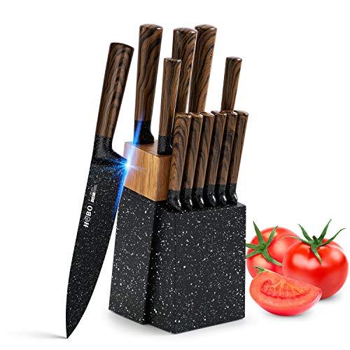 Messerset, HOBO 12-teiliges Messerblock Set mit Holzblock, Deutsches Edelstahl Küchenmesserset mit Kochmesser, Brotmesser, Aufschnittmesser, Gebrauchsmesser, Gemüsemesser, Steakmesser