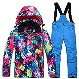 LPATTERN Kinder Jungen/Mädchen Skifahren 2 Teilig Schneeanzug Skianzug(Skijacke+ Skihose), Bunt Jacke+ Marineblau Trägerhose, Gr. 140/146(Herstellergröße: XL)