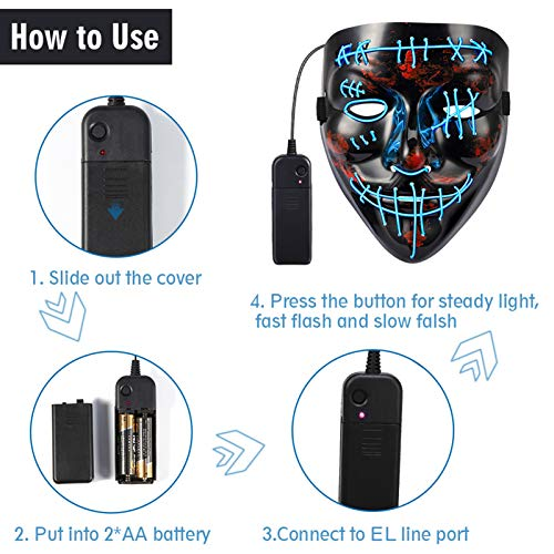 Twister.CK Maschera Spaventosa di Halloween, LED Light up Halloween Face Mask - 2Pack Mask Decorazione Cosplay per Festival Party Carnival Cosplay Halloween Natale, Blu + Verde