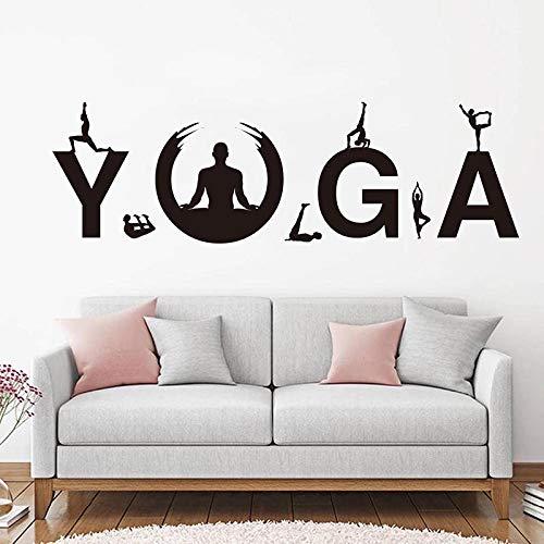 Blrpbc Adhesivos Pared Pegatinas de Pared Postura de Yoga Vinilo Modern Yoga Gym Yoga Sport Beneficios de la práctica Entrenamiento Decoración de la Pared Papel Tapiz 185x57cm