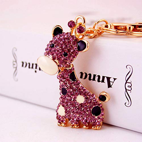 Ifingerring Girl Key Chain, Purple Crystal Spot Giraffe Keychain Animal Shape Metal Female Bag Key Ring Pendant, Fashion Accessory Couple Friend Lover Girl Festival Gift