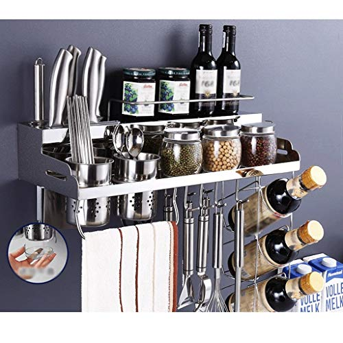 YCSX Spice Rack Wall Mounted Kitchen Organizer 304 Stainless Steel Kitchen Wall Mount Free Perforated Shelf Easy to Assemble-3 Sizes Kitchen Wall Mount Organizer (Color : C)