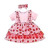 Loalirando Robe en dentelle pour bébé avec fleurs et nœuds, manches courtes, pour filles, robe ras du cou, fruits et jupe imprimée, bandeau pour cheveux - - 12-18 mois