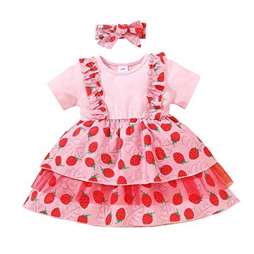 Loalirando Vestido de encaje para bebé con flores y lazo, manga corta, para niñas, vestido de cuello redondo y fruta, falda estampada para el pelo Fresa rosa 9-12 Meses