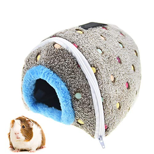 """MuYaoPet Washable Small Animal Guinea Pig Hamster Hanging Cave Bed Winter Warm Plush Parrot Hammock Snuggle Hut Hideaway Nest for Small Bird Lovebird Finch(6.6"""" 5.5"""" 5.5"""", Grey)"""