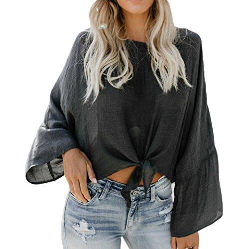 Blusa Tops Casual para Mujer, Las Mujeres Ocasionales de Manga Larga Color Block Stripes Button Down Camisetas Blusa Tops(XL,Negro)