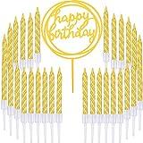 Boao 50 Stücke Gold Spiral Kuchen Kerzen und Alles Gute zum Geburtstag Kuchen Topper für Torten Dekoration Liferungen, 51 Stücke Total