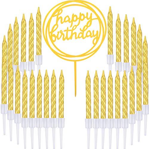 Boao Velas de Pastel Espiral de Oro de 50 Piezas y Adorno de Pastel de Feliz cumpleaños para Suministros de decoración de Pasteles, 51 Piezas en Total