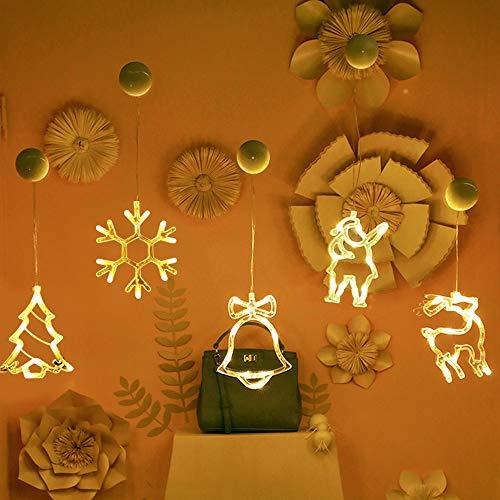 6 Pcs LED Vorhang Licht, LED Lichterketten Batteriebetriebene mit Saugnäpfe für Fensterdeko Weihnachtsdeko, Winter Dekoration für Türen, Schaufenster (Warmweiß)
