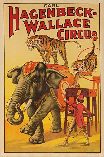 Hagenbeck - Wallace Circus (Elefant und Tiger) Vintage Poster USA ca. 1933, Papier, multi, 12 x 18 Signed Art Print