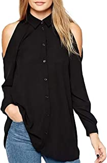 Women O-neck Off Shoulder Tops ❀ Ladies Solid Long Sleeve Fashion Button Plus Size T-shirt Blouse Tunic Tops