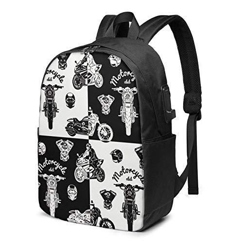 XCNGG Motorrad Club Business Laptop Schule Bookbag Reiserucksack mit USB-Ladeanschluss & Kopfhöreranschluss Fit 17 in