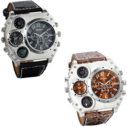 JewelryWe 2pcs Herrenuhren Zwei Zeitzone Kompass Thermometer Kalender Analog Quarz Armbanduhr Leder Armband Sportuhr mit Digital Zifferblatt Schwarz/Braun