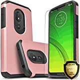 Moto G7 Power Case, Moto G7 Supra Case, Moto G7 Optimo Maxx Case, Included [Tempered Glass Screen Protector], STARSHOP Drop Protection Dual Layers Impact Rugged Protective Phone Cover - Rose Gold