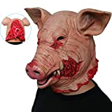 MBEN Halloween Masque d'horreur de Porc Cochon Sanglant en Latex découpé tête Fantaisie Robe de Porc, Masques de Costume d'halloween pour Adultes et Enfants (Cochon Fou)