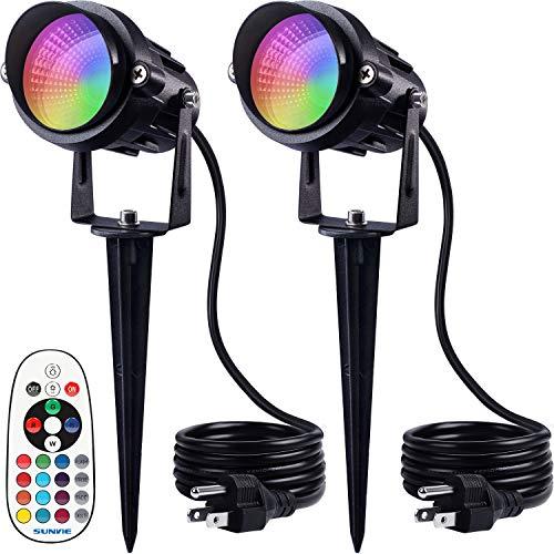 SUNVIE Landscape Lighting 6W RGB Color Changing LED Landscape Lights 120V AC Remote Control Spotlights for Yard Waterproof Spot lights for Garden...