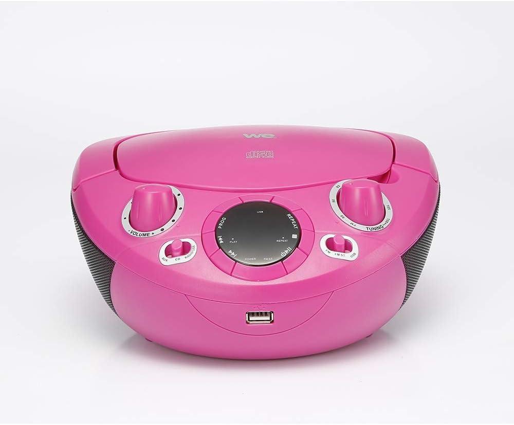 FM Lecteur CD//CD-R//CD-RW Enfant CD//USB 6 Paires de Stickers /à colorier Radio RMS2*1W WE Lecteur Rose Portable