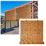 Sunshades Roller Window Blinds, Bamboo Roll Up Shades Privacy Screen for Outdoor Patios, Water Proof Blackout Reed Shades, 20 x 36in, Natural, Easy to Install