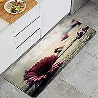 ECOMAOMI キッチンマット 洗える 45*120cm 紫の花 キッチンマット 滑り止め 柔らかく おしゃれ 台所 マット お手入れ簡単