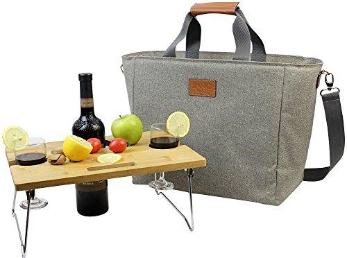 INNO STAGE 40L grote, geïsoleerde koeltas, XL draagbare wijn-draagtas, picknick-koeltas met draagbare bamboe-wijn-snacktafel - beige met 2 posities
