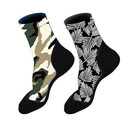 2 pares de calcetines de aleta de neopreno para arena, playa, deportes acuáticos, voleibol, fútbol, natación, buceo, pesca, kayak, surf, rafting, esnórquel (hojas+camuflaje, S)