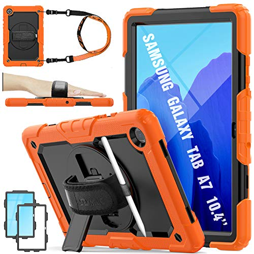 SEYMAC STOCK Galaxy Tab A7 10.4 Case Kids, Heavy Duty Protection Rugged Case with [360° Rotating Stand/Hand Strap] [Screen Protector] for Samsung Galaxy Tab A7 SM-T500/T505/T507 2020(Black+Orange)