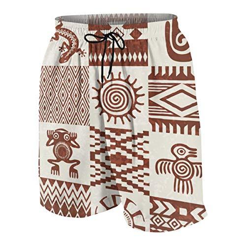 LINARUBE Herren Badeshort Stücke von Indianern Ethnische Muster und Symbole in Nahtloser Textur zusammengestellt Strandshorts Swim Trunks XL