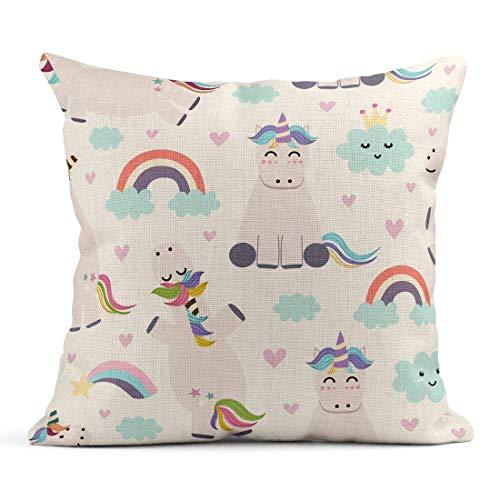 Cojín Patrón Unicornio Arcoíris y Nubes Lindo para bebé Niños Cojín de Lino Abstracto Almohada Decorativa para el hogar