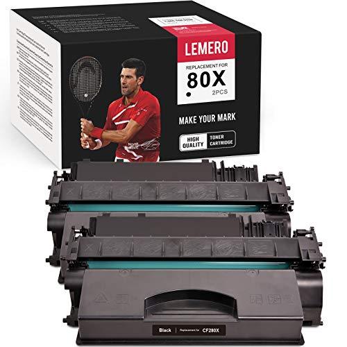 LEMERO Compatible Toner Cartridge Replacement for HP 80X 80A CF280A CF280X to use with Laserjet Pro 400 M401n M401dn M401dne M401dw MFP M425 M425dn M425dw (Black, 2-Pack)