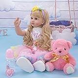 24 Pollice 60cm Bambole Reborn Femmine in Silicone Morbido Realistico Occhi Aperti Neonato Bambino Bambola Capelli Lungo Baby i Regali per Bambini (948b)