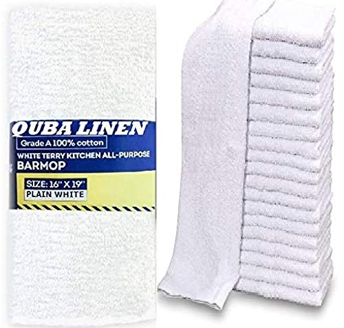 QUBA Linen - Bar Mops Towels, 12 Pack Premium Quality 100% Cotton, Size 16x19 Highly Absorbent and Multi-Purpose Cleaning Rags - Terry Towels for Home and Kitchen Machine Washable bar mops (12)