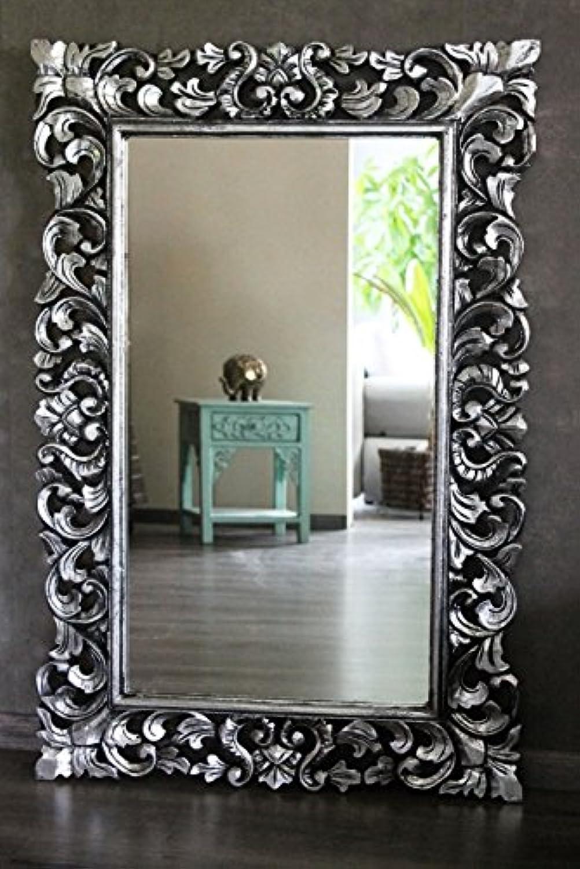 Naturesco Eleganter Holz Barockspiegel Rokoko Silber antik 120cm x 80cm