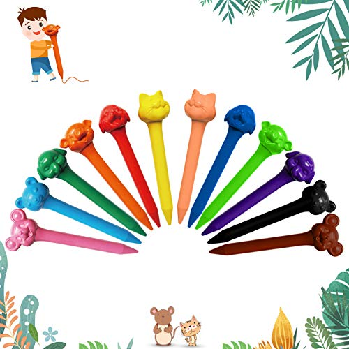 Bulk Crayon Set, 12 Colors Non-Toxic Washable Crayons, School Supplies Gift for Kids, Animal Style crayons, Christmas & Birthday Gift for Kids