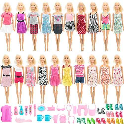 SOTOGO Doll Clothes and Accessories for 11.5 Inch Girl Doll Include 20 Sets Handmade Doll Grown Outfits Fashion Suits Party Dresses and 32 Pieces Different Doll Accessories